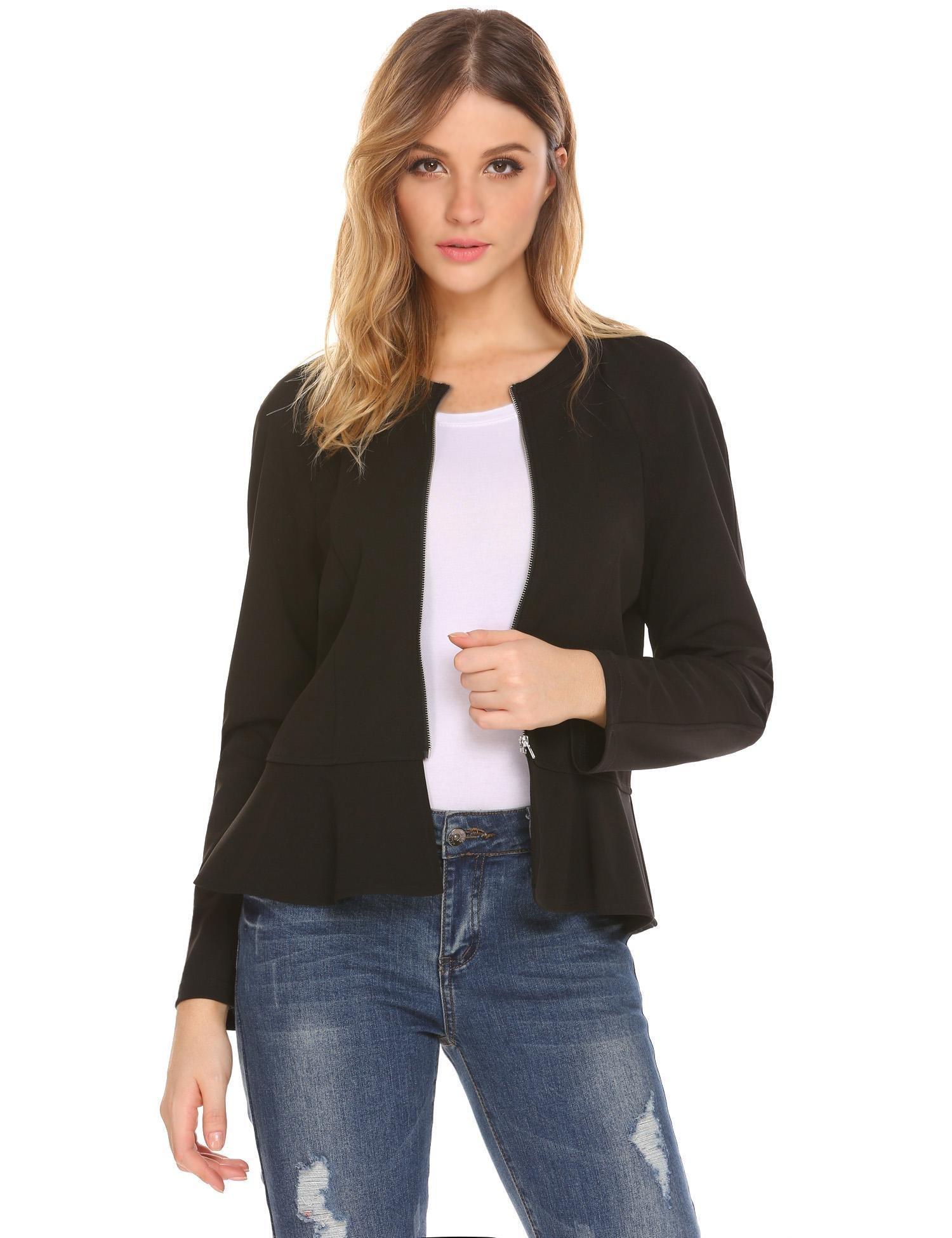 Gfones Womens Long Sleeves Zipper Peplum Blazer Jacket Top