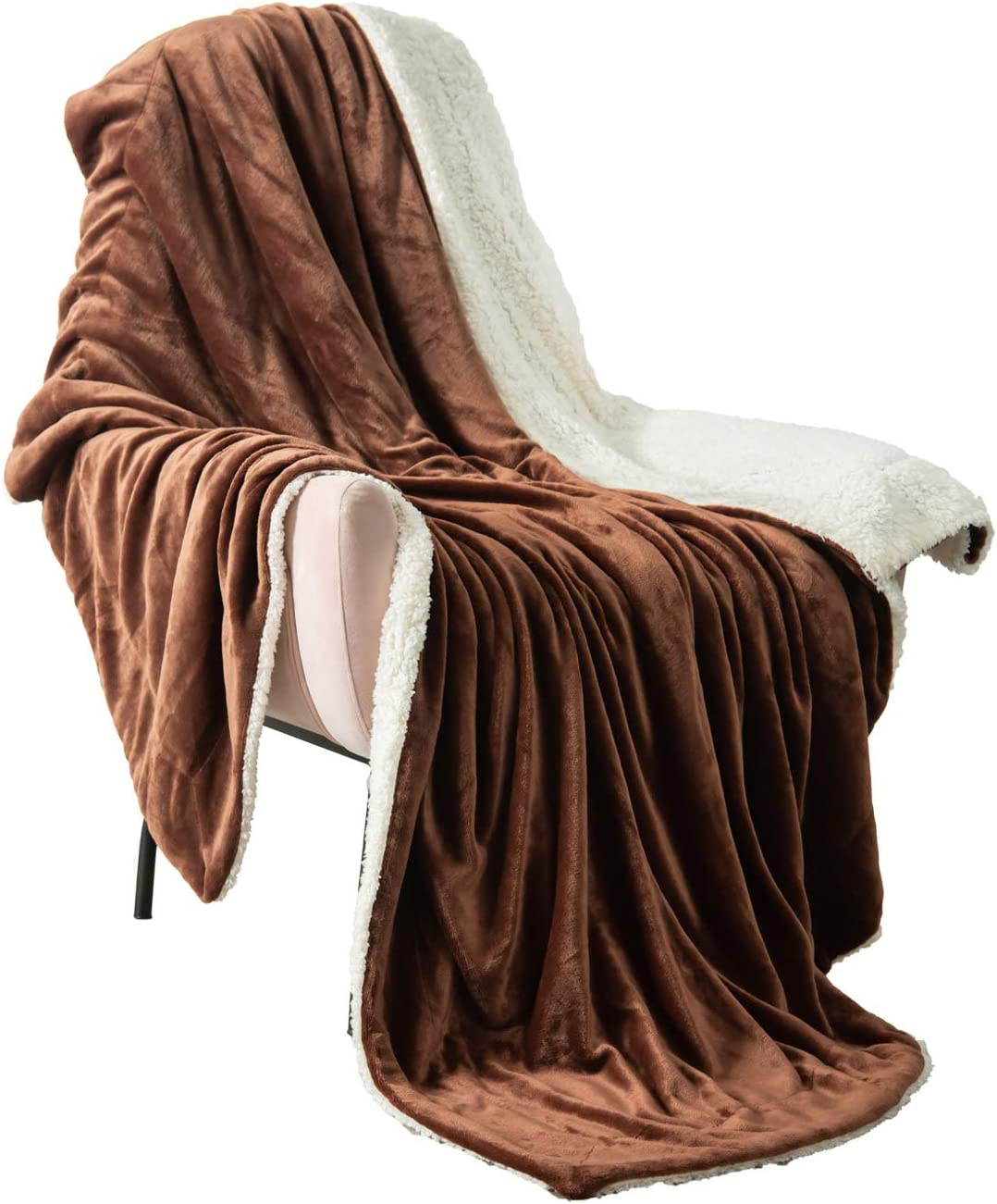VOTOWN HOME Sherpa Blanket Throw Soft Plush Fuzzy Blanket Reversible Warm Winter Blanket for Couch Micro Fleece Fabric, Brown Throw Size 50