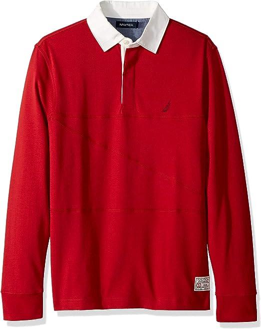 Nautica Hombre K83103 Manga Larga Camisa polo - Rojo - Large ...