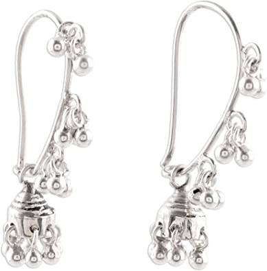 Indian silver 3 tiered bell earrings