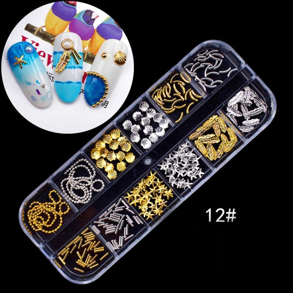 â¤JPJ(TM)❤️ Nail Art Stickers,Girls Nail Stickers,Colorful Nail Art Tips Stickers 3D Laser Makeup Manicure DIY Decals Art Design Best Decoration For Your Nails (E)