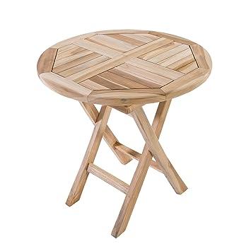 Holztisch Rund Garten.Macoshopde By Maco Möbel Klappbarer Beistelltisch Gartentisch Aus Teak Holz 50x50 Cm Rund Holztisch Massiv