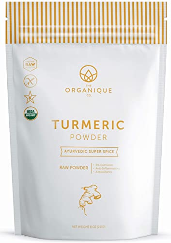 The Organique Co. Turmeric Root Powder with Curcumin 4.5 Anti-Inflammatory for Joint Pain Relief – 8 Ounce, Resealable Bag Organic, 100 Pure, Raw, Non-GMO Supplement Sustainably Sourced
