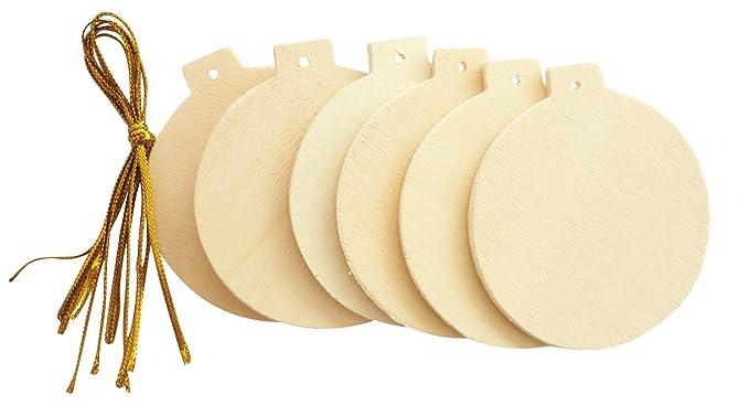 1 lot de 6 boules en bois à décorer - Hauteur : 60 mm