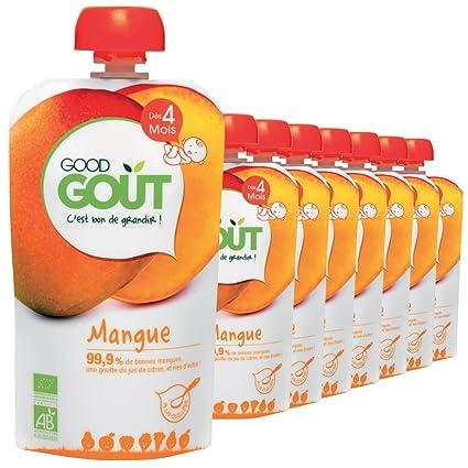 Good Goût - Bio - Gourde de Purée de Fruits Mangue dès 4 mois - 8 gourdes de 120g