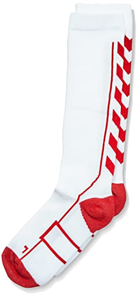 Hummel Niños Calcetines Tech Indoor Sock High, Todo el año, Infantil, Color Blanco - White/True Red, tamaño 8: Amazon.es: Deportes y aire libre