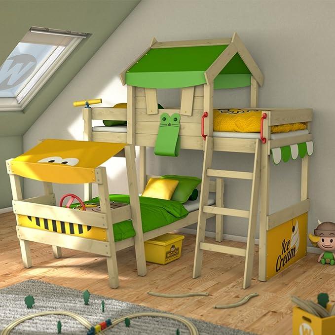 WICKEY Cama de matrimonio CrAzY Trunky Litera Cama infantil 90x200 para 2 niños en diseño oblicuo con somier de madera, verde manzana-amarillo