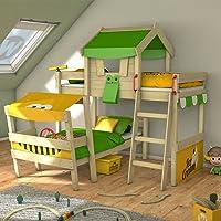 WICKEY Doppelbett CrAzY Trunky Etagenbett Kinderbett 90x200 für 2 Kinder in schrägem Design mit Lattenboden, apfelgrün-gelb