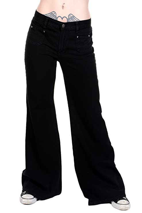 Vintage High Waisted Trousers, Sailor Pants, Jeans Ladies 60s 70s Disco Retro Black Stretch Hippy Wide Leg BellBottoms Super Flares $39.95 AT vintagedancer.com