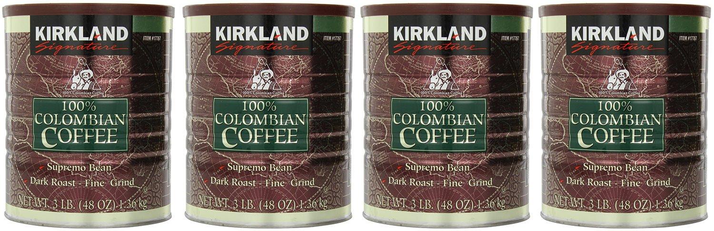 Signature EzeeSB 100% Colombian Coffee Supremo Bean Dark Roast-Fine Grind, 4Pack of 3 Pound Dark Roast