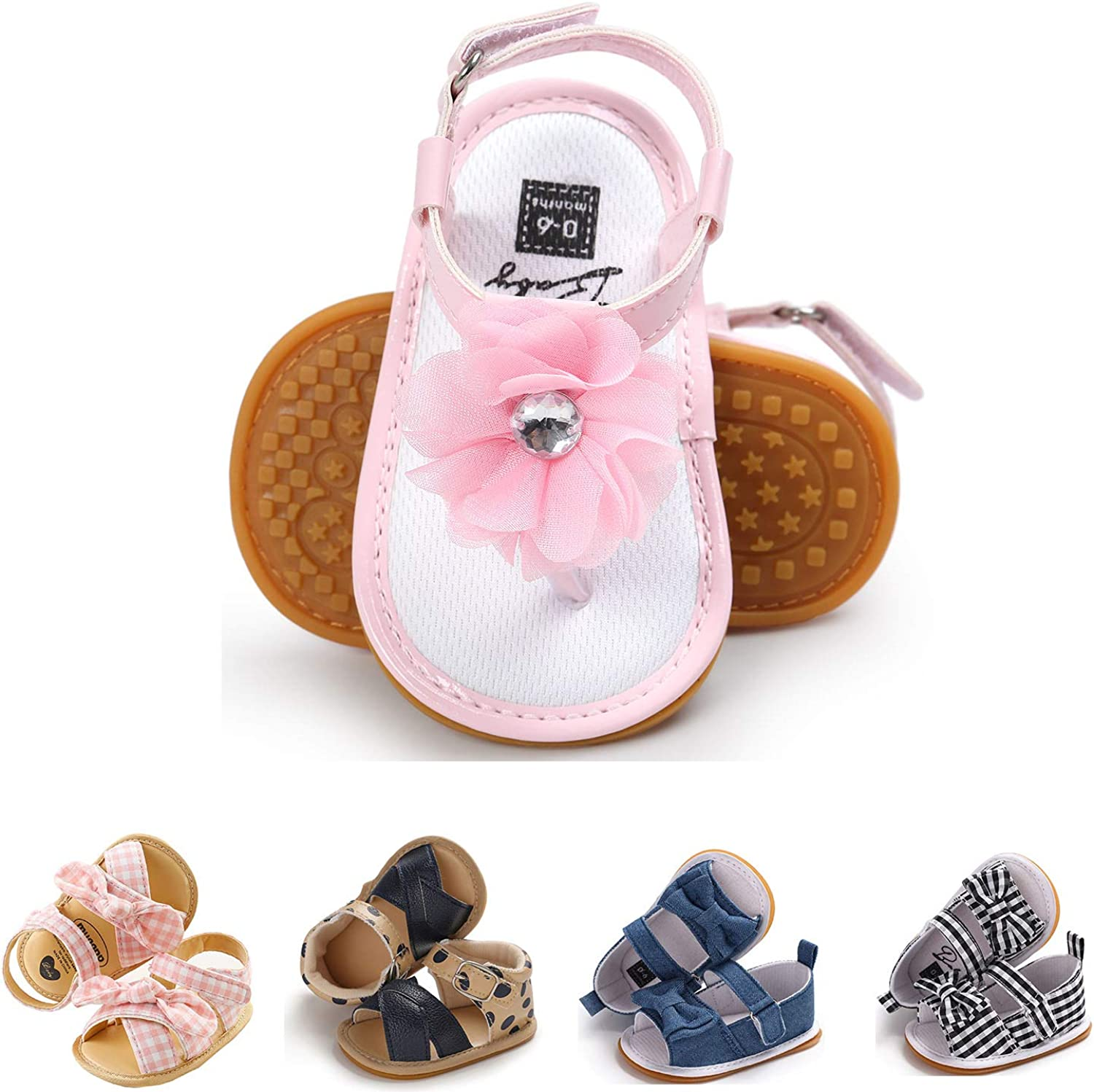 Baby Girls Toddler Infant PU Leather Summer Sandals Flower Princess Flat Bowknot First Walker Shoes