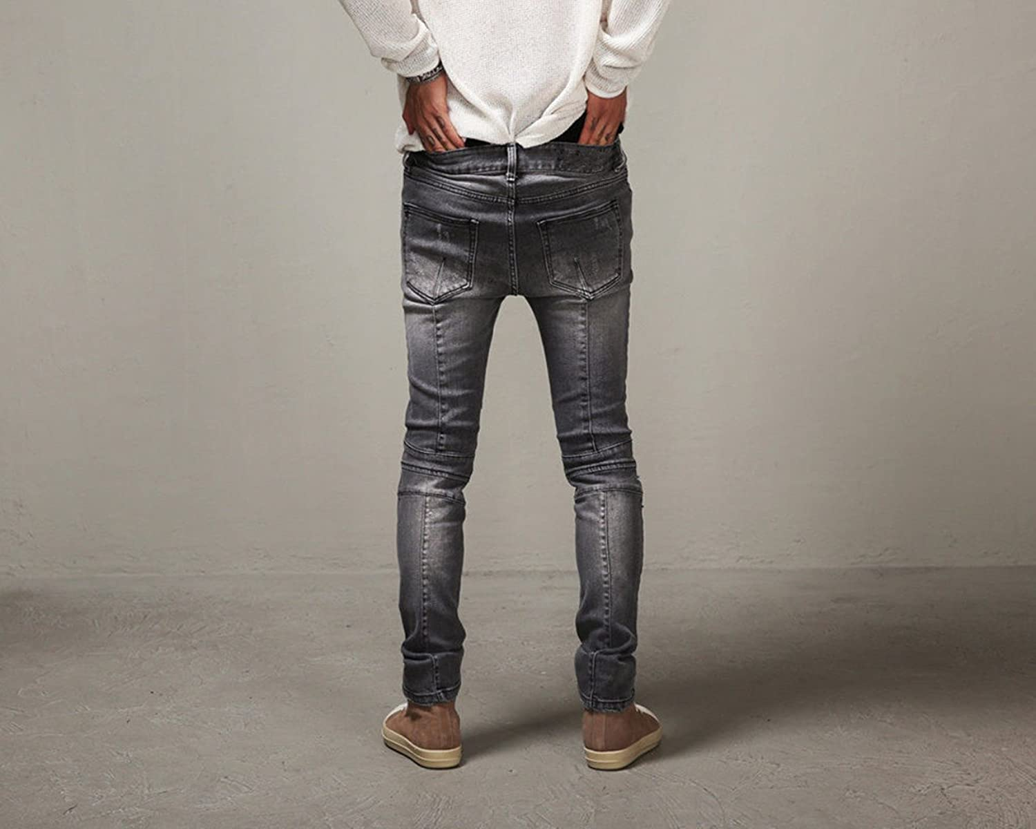 Mens Slim Fit Ripped Distressed Straight Leg Designed Casual Patch Jeans