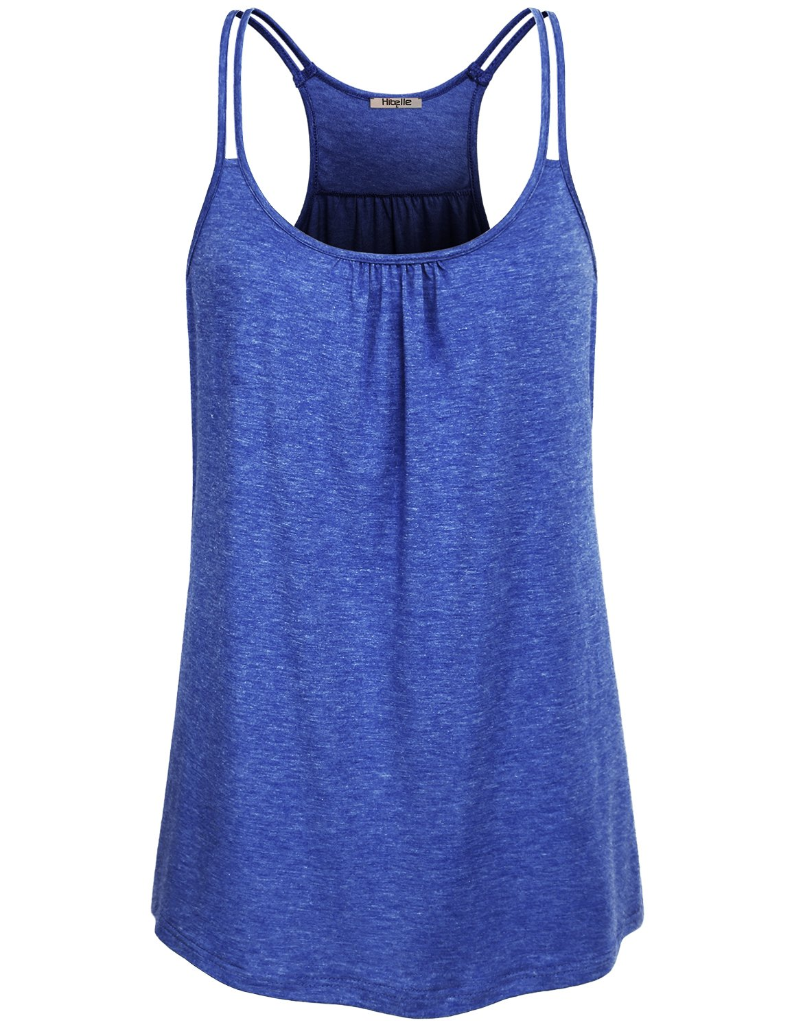 Hibelle Loose Fitting Tops for Women, Ladies Sleeveless Summer Casual Yoga Tanks Sports Shirts Boat Neck Flowy A Line Hem Dressy Front Drape Swing Racerback Workout Knit Cami Blue Small