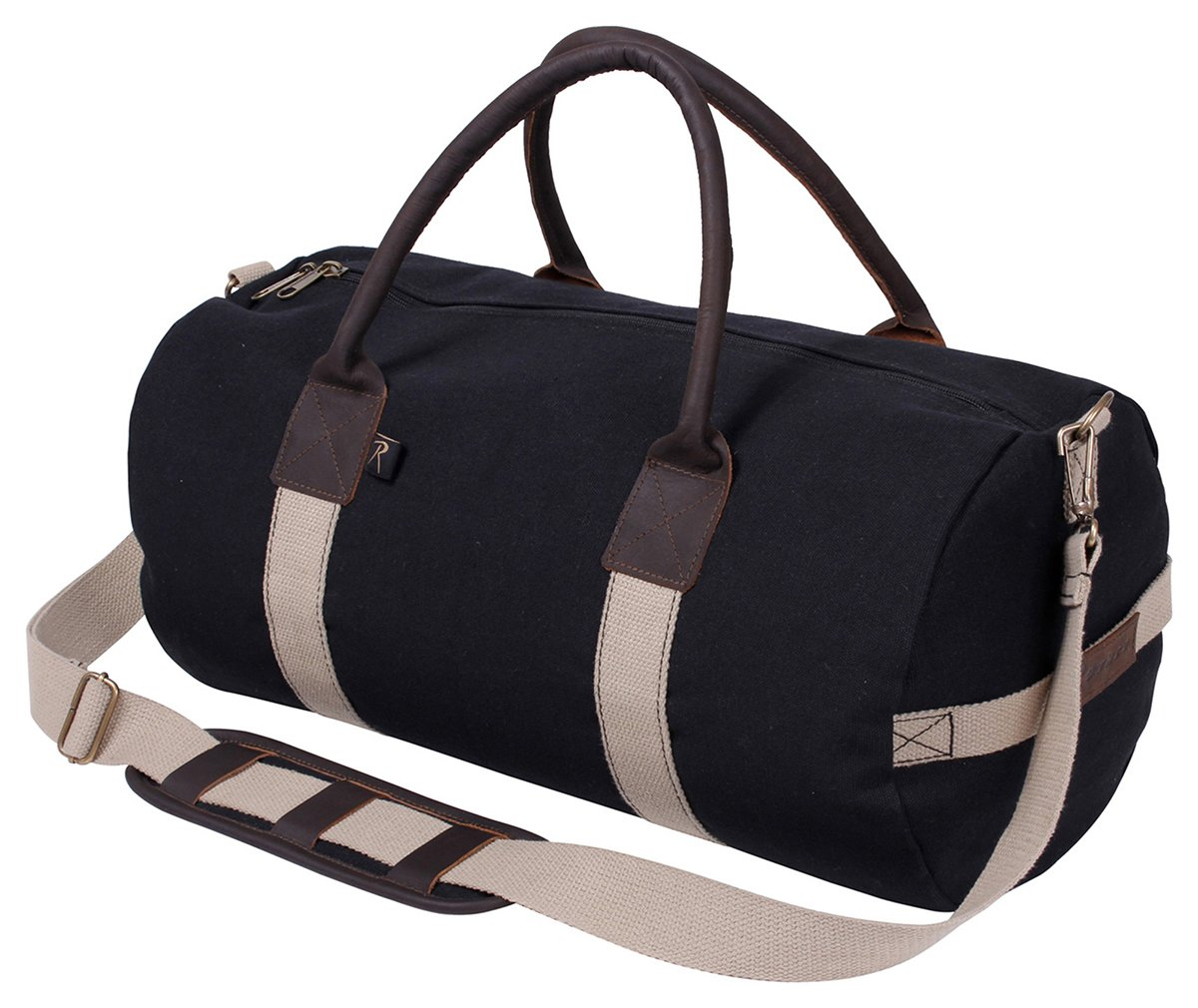 7f2cf317aa8 Amazon.com: Rothco 19'' Canvas & Leather Gym Bag, Black: Sports & Outdoors