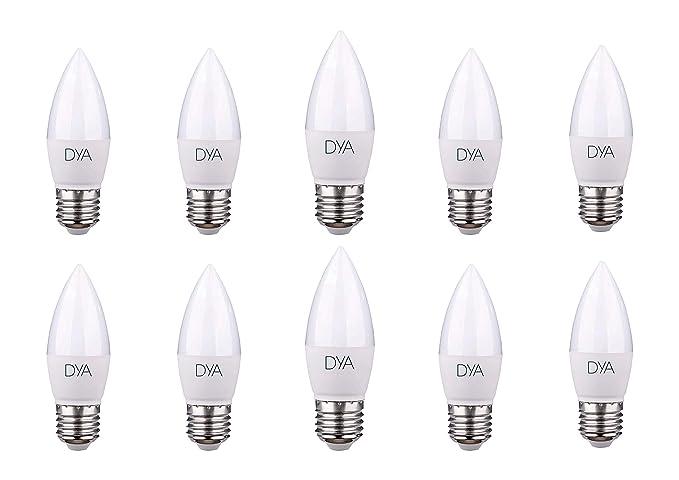 Juego de 10 bombillas LED tipo vela C37, 6 W, 570 lúmenes, casquillo