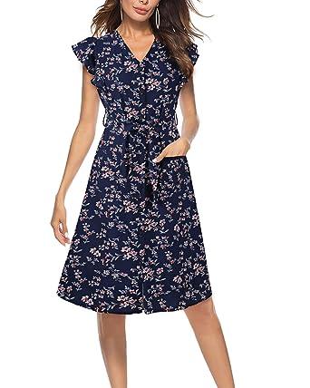 c7bdb91a30 LECCECA Women s Summer Spaghetti Strap Flattering A-Line Sundress Button  Down Swing Midi Dress with