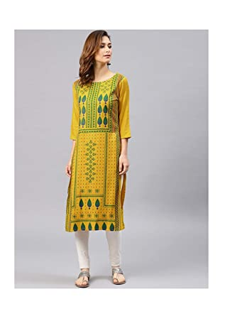 f06af8e02cddab Hiral Designer Clothing Rayon Long Womens Dress Kurti for Women Mustard  Yellow & Green Printed Straight