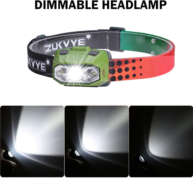 Zukvye LED Headlamp Ultra Bright 230 Lumen White /& Red LED Headlamps Reading /& More, Waterproof Head Light for Running 4 Pack Camping