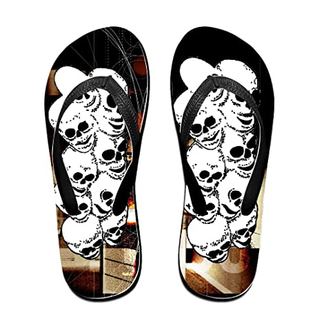 Neon Skull Unisex Summer Beach Flip-flops Thong Size M Black