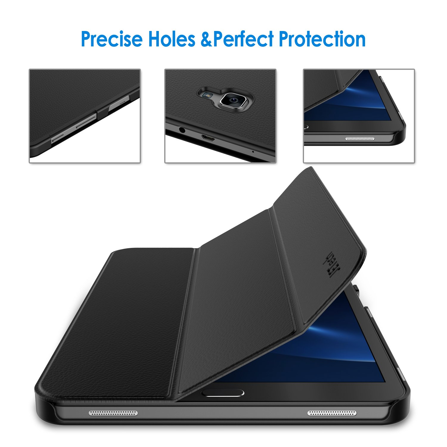 SM-T580 // T585 Black Smart Cover with Auto Sleep//Wake JETech Case for Samsung Galaxy Tab A 10.1