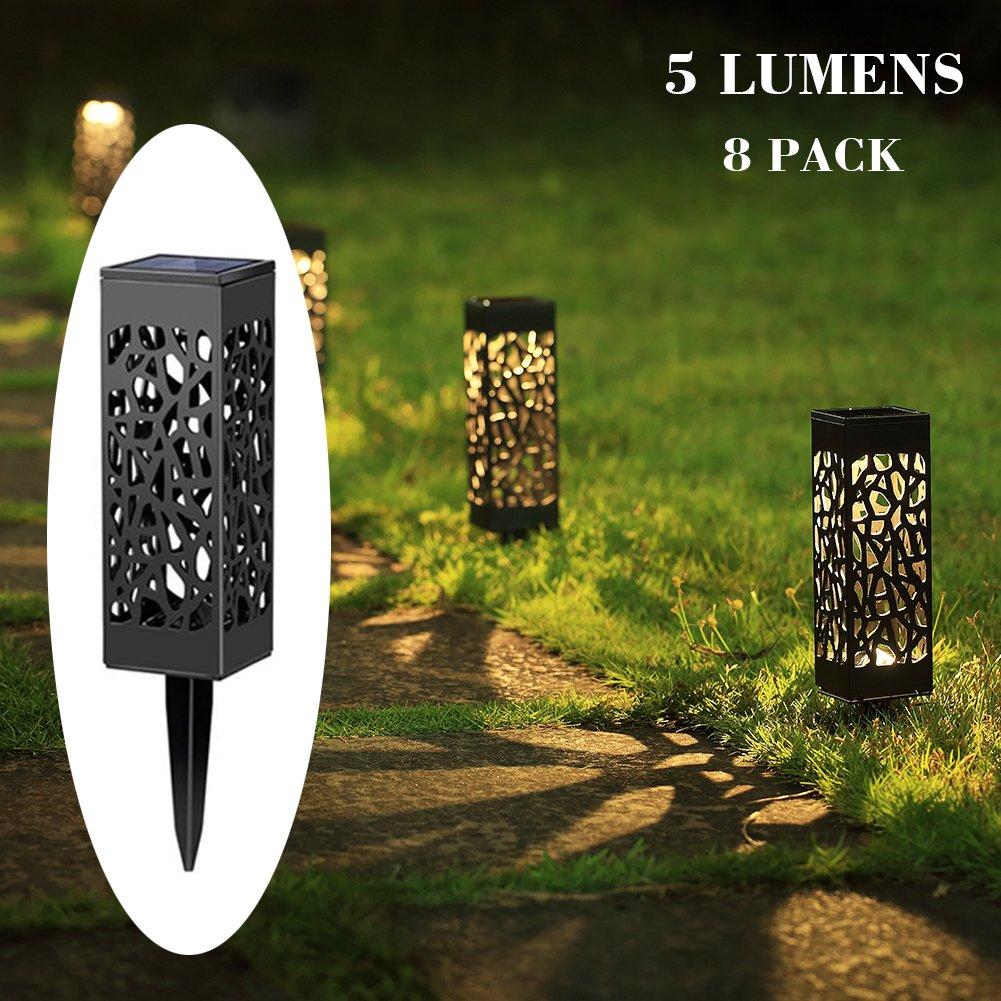 Maggift 5 Lumens Solar Pathway Lights Solar Garden Lights Solar Lights Outdoor for Lawn, Patio, Yard, Walkway, Landscape, 8 Pack (Irregularity)
