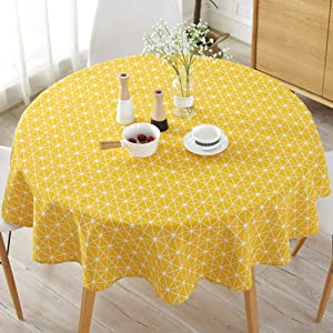 Tonquu 150 cm Table Cloth, Modern Nordic Style Round Floral Printing Dining Table Cloth, Suitable for Home Holiday Party Patio Gardens Kitchen Dining Room (Yellow)