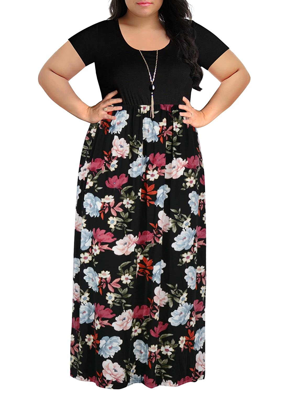 a792cfa3da9 Nemidor Women s Chevron Print Summer Short Sleeve Plus Size Casual Maxi  Dress