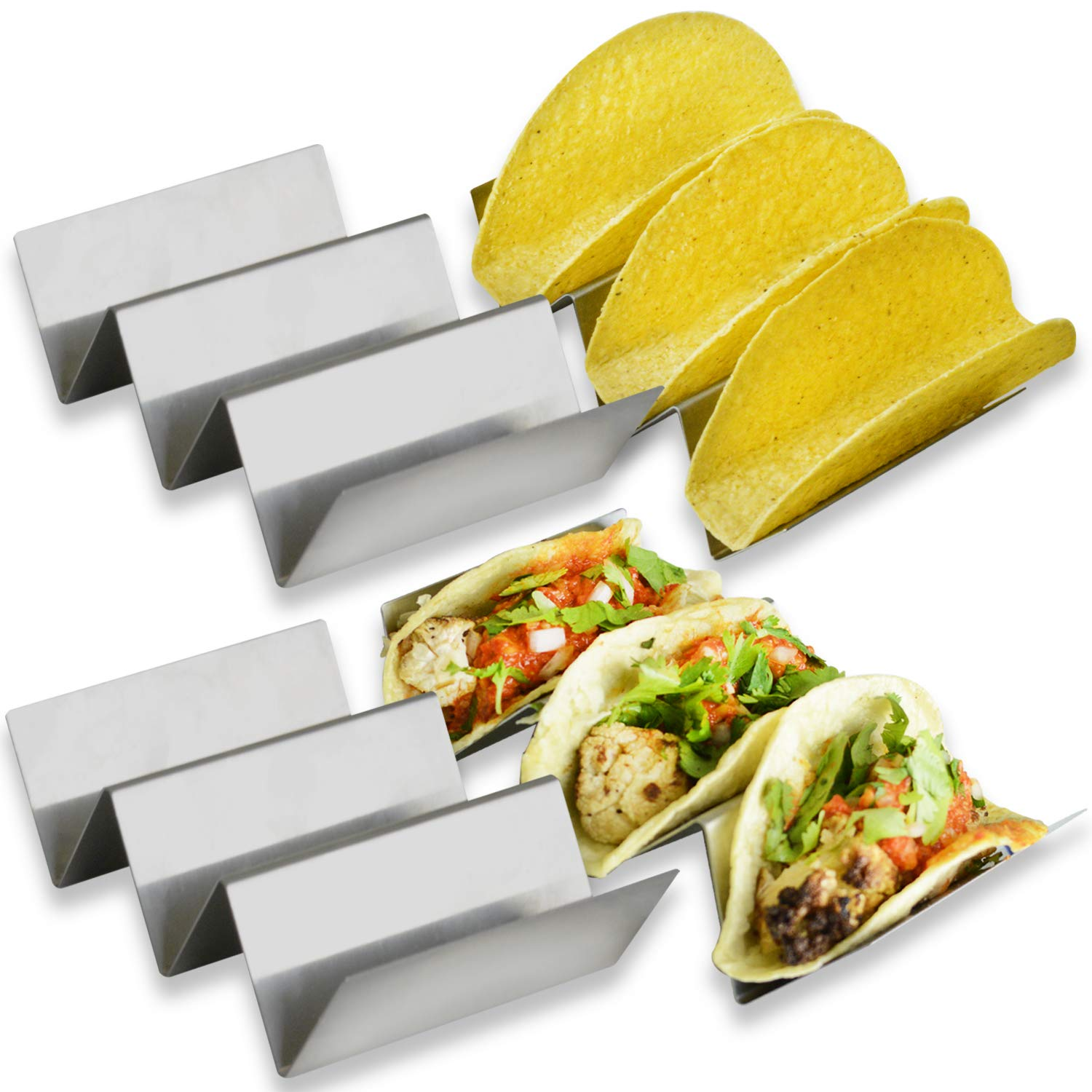 Stylish Taco Holder By Zen Earth Kitchen – Set Of 4 Stainless Steel Taco Racks – Stable 6.3 x 4 Inch Taco Tray Fits Most Plates – Oven & Dishwasher Safe Taco Shell Holder – Holds Up To 3 Tacos Each(4)
