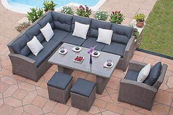 Milan Casamore ratán sofá en esquina Grande de jardín diseño ...