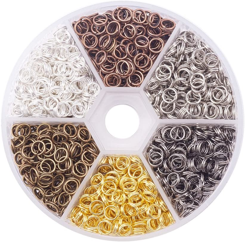 PandaHall Elite About 800 Pcs Iron Split Rings Double Loop Jump Ring Diameter 7mm Wire 21-Gauge 6 Colors for Jewelry Findings