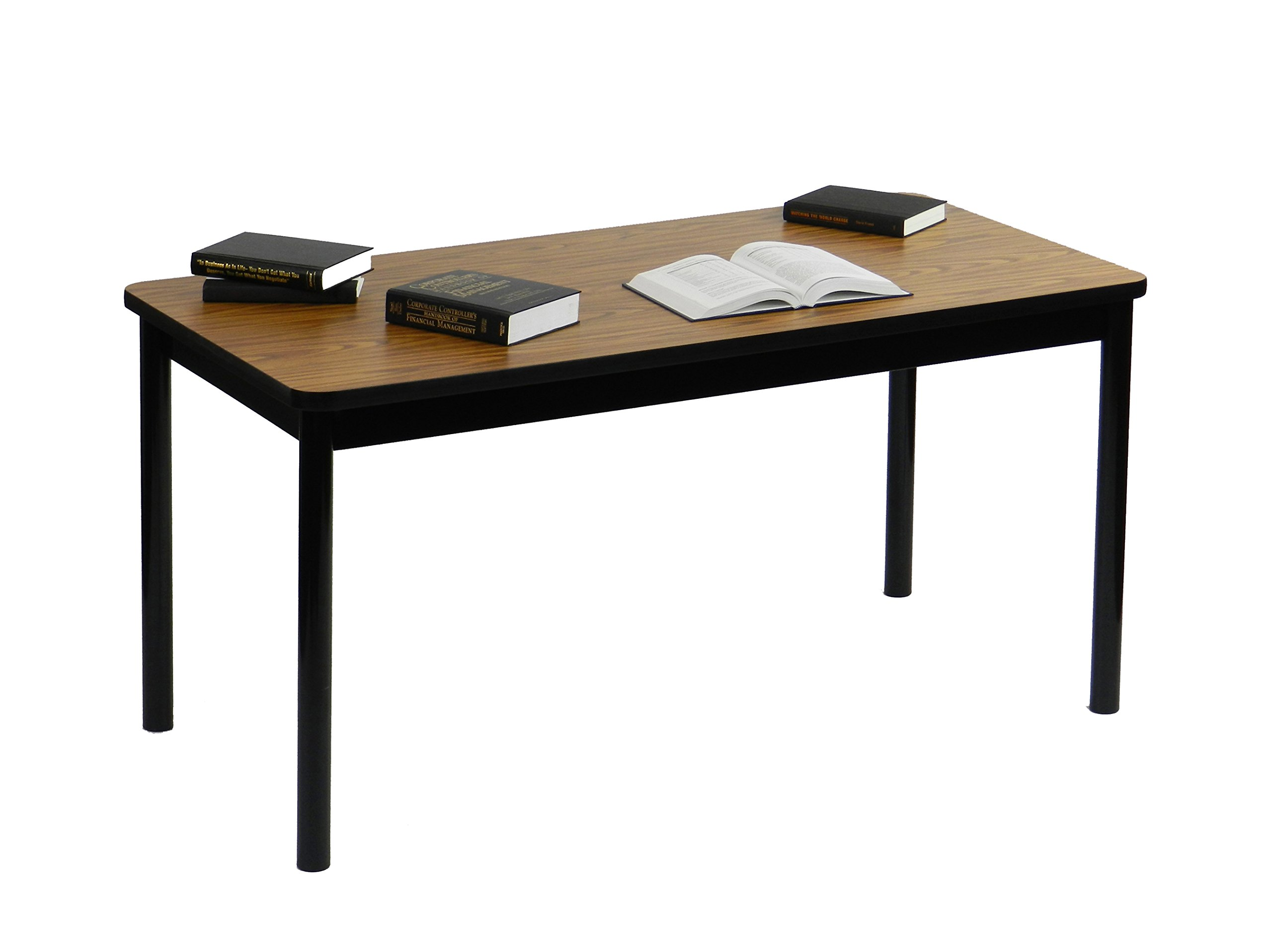Correll 30''x60'' Office & Utility Work Table, Rock Solid Commercial Quality, Medium Oak High-Pressure Laminate, Black Frame (LR3060-06) by Correll (Image #4)