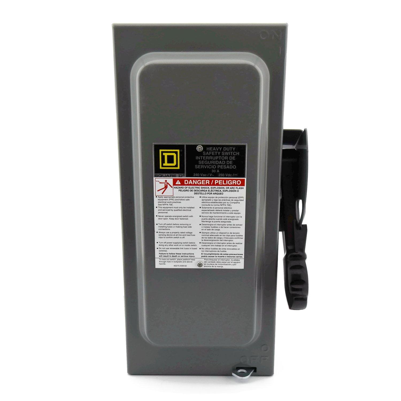 SCHNEIDER ELECTRIC Switch Fusible Hd 240-Volt 30-Amp 2-Point Nema-1 H221N 240V 30A 2P Nema1