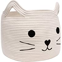 """HiChen Large Woven Cotton Rope Storage Basket, Laundry Basket Organizer for Towels, Blanket, Toys, Clothes, Gifts 