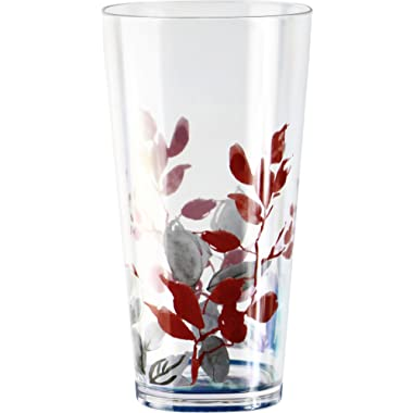 Corelle Coordinates by Reston Lloyd Kyoto Leaves Acrylic Square Tumbler Glasses, 19-Ounce, Set of 6