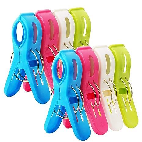 Bingolar 8Pcs Grandes Playa Toalla Clips Brillante Color,Gran tamaño plástico Playa Toalla Clips,