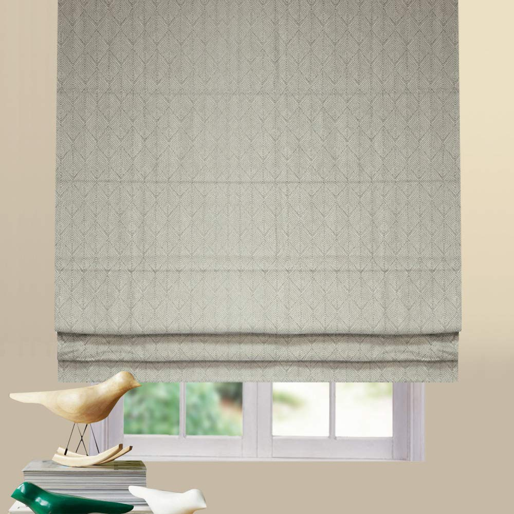 Artdix Roman Shades Blinds Window Shades - Grey-White 35 W x 96L Inches (1 Piece) Blackout Fabric Custom Made Roman Shades for Windows, Doors, Home, Kitchen, Living Room by Artdix