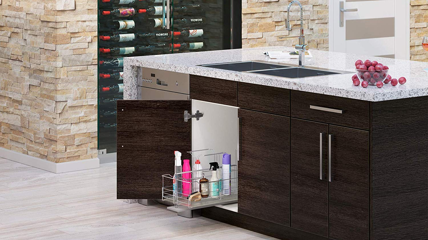 Modern Grey Wood Kitchen Cabinet Textured Woodgrain Frameless Construction Tall Single Oven Built in Cabinet with Two Drawers
