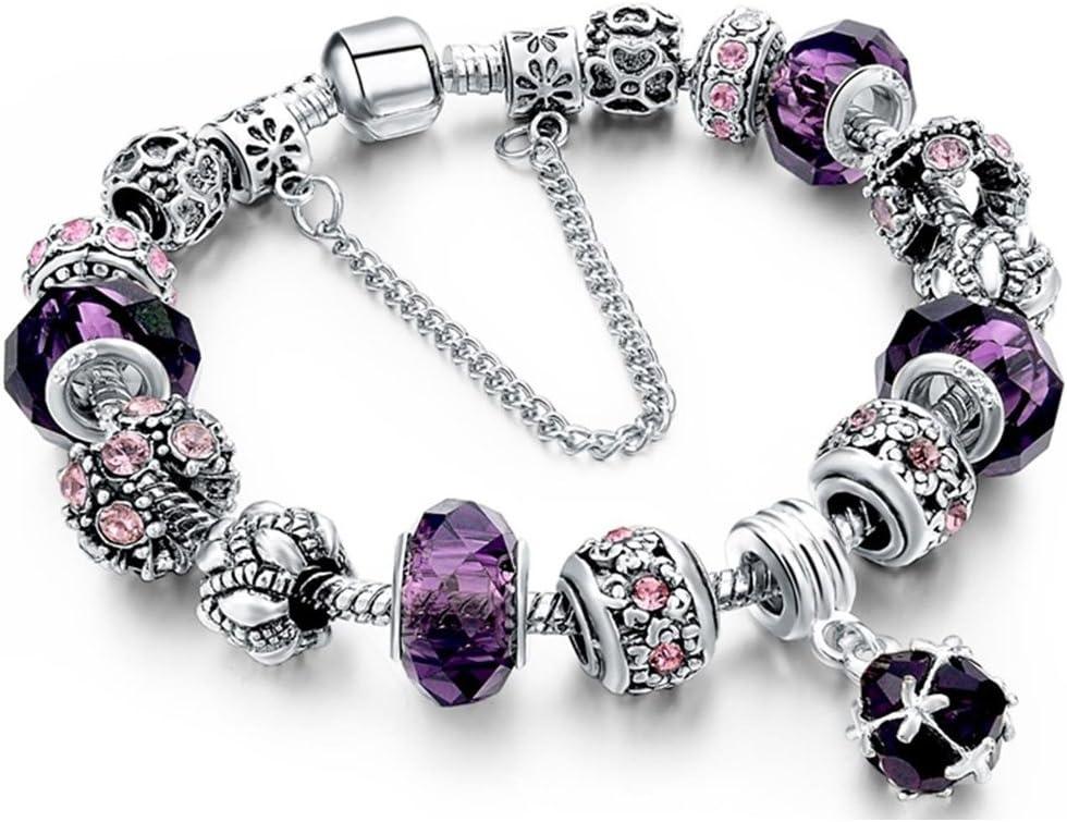Snake Charm Pendant Sterling Silver Pink /& Purple Crystal