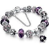 Morenitor Beaded Bracelet Handmade Carved Sterling Silver Plated Snake Chain Charm Bracelet for Women 19.5cm (Purple)
