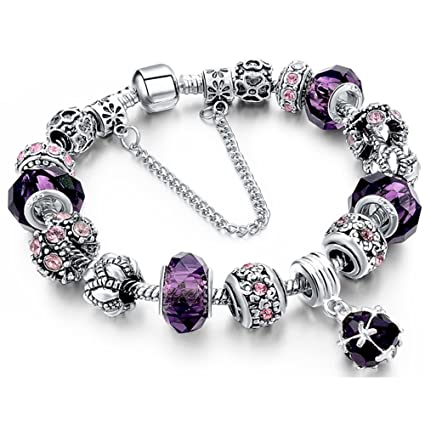 79ce19ce11875 Morenitor Beaded Bracelet Handmade Carved Sterling Silver Plated Snake  Chain Charm Bracelet for Women 19.5cm (Purple)
