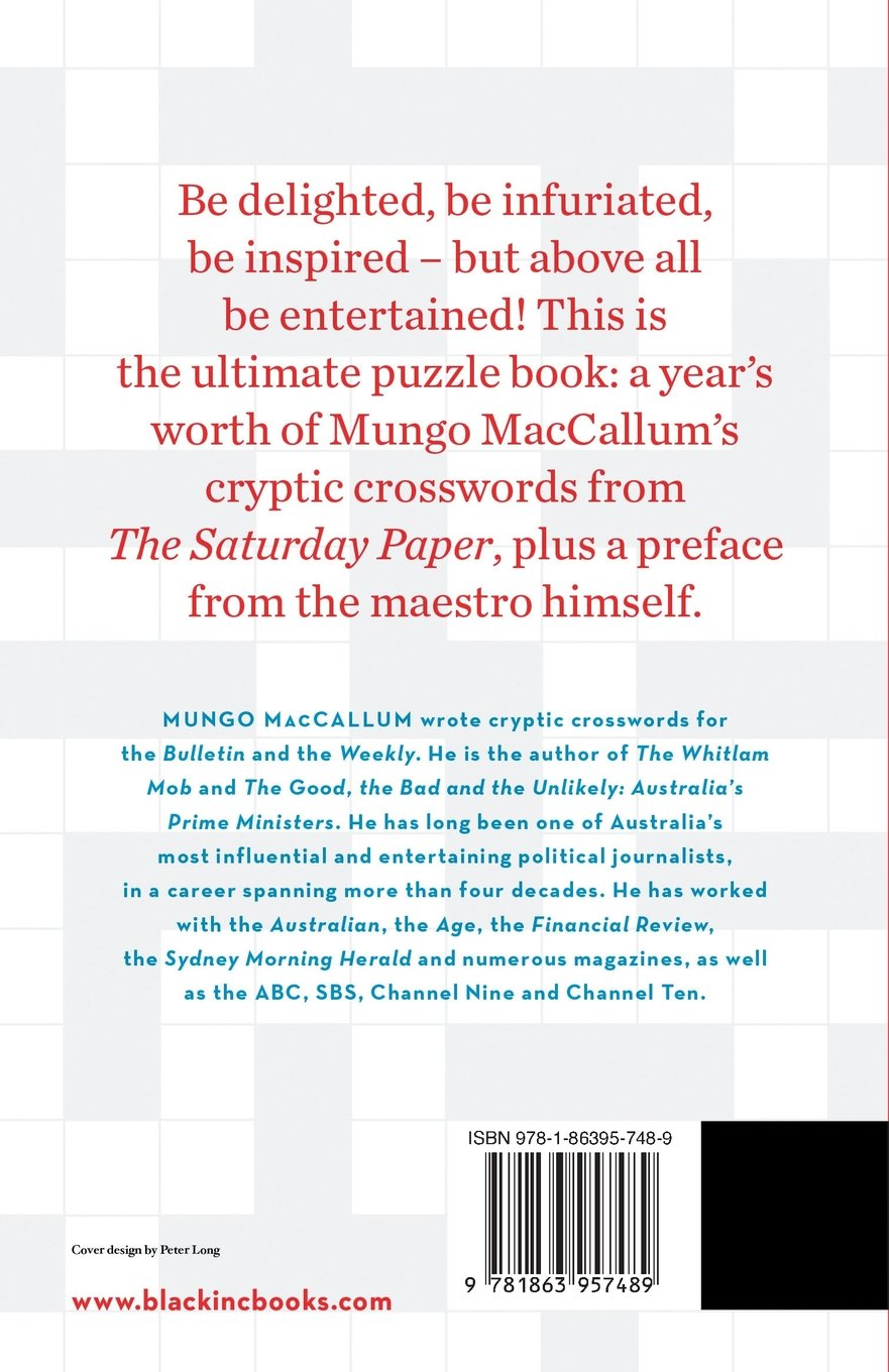 Mungos Cryptic Crosswords From The Saturday Paper Mungo MacCallum 9781863957489 Amazon Books