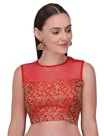 e573a8745db17b Vastrashilpi Women's Red & Golden Brocade Katty Jari Fabric Sleeveless  Blouse