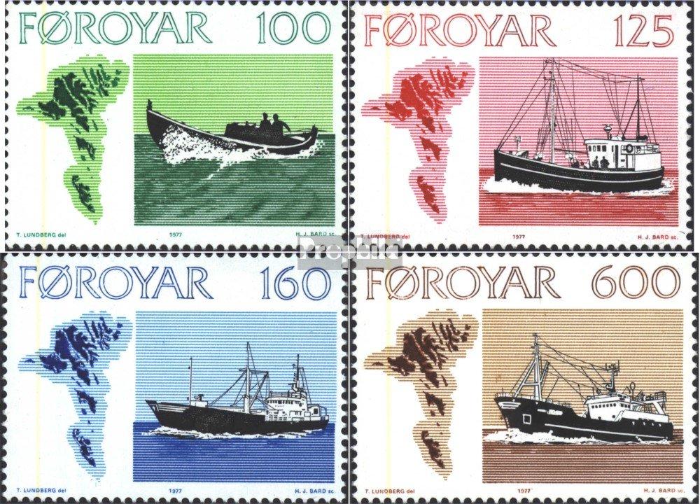 Prophila Collection Danimarca 1977 Le Navi Che pescano Francobolli per i Collezionisti Marinaro Completa Edizione Isole Faroe 24-27