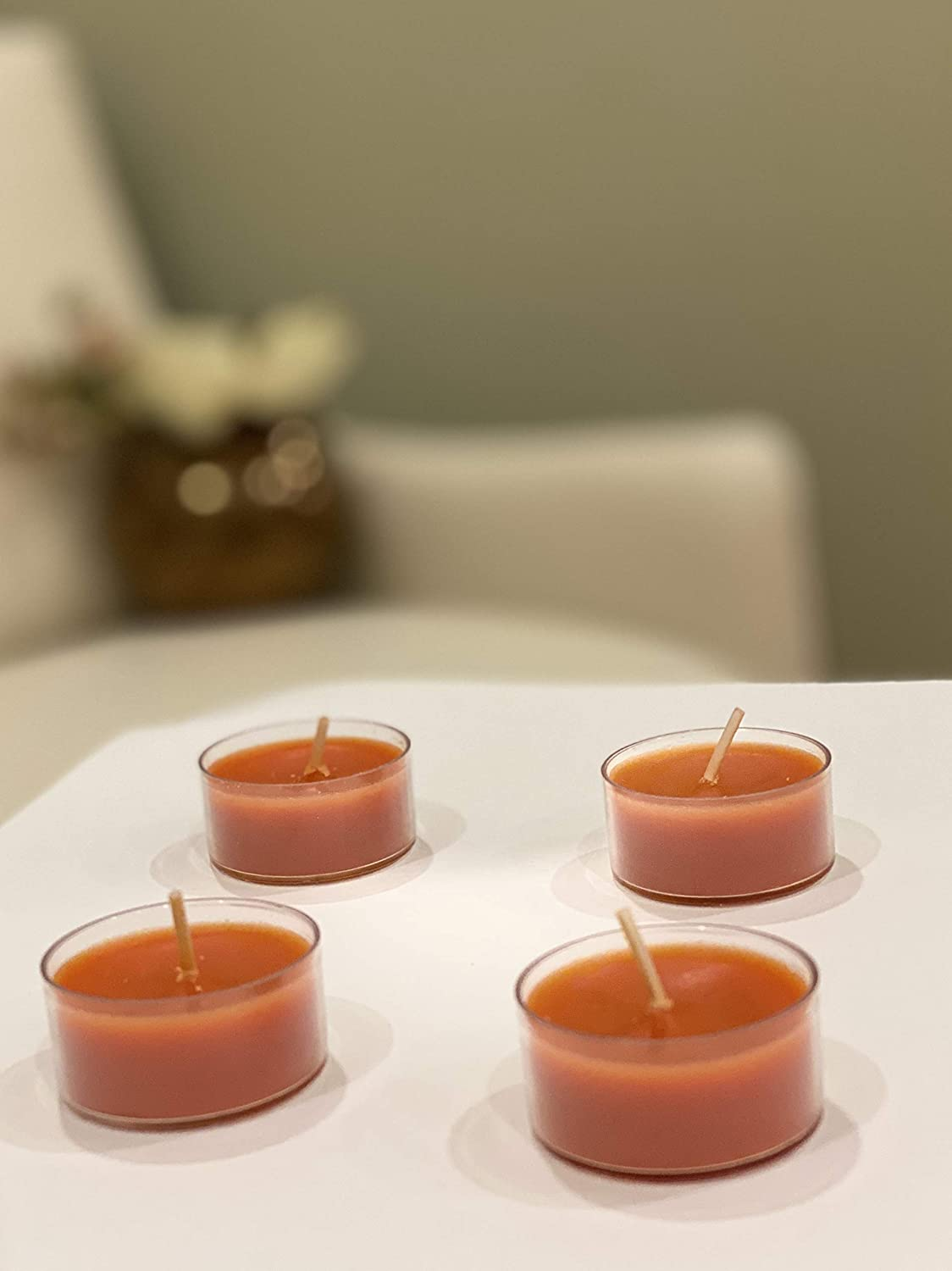 Scented tealight Candles Bulk in Clear Cup for Beautiful Candlelight Proudly Made in The USA High quailty Wax Canella Cinnamon 24 Pack