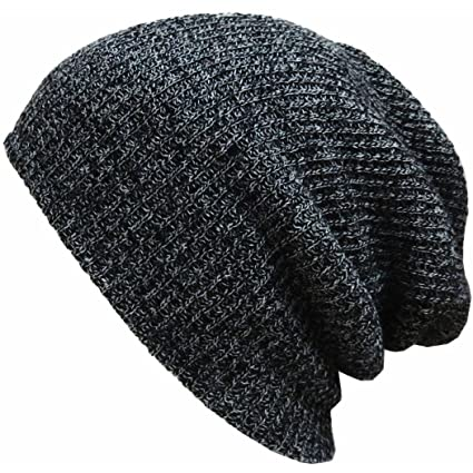 d73097888e3 OUTERDO Knit Men s Women s Baggy Beanie Oversize Winter Hat Ski Slouchy  Chic Cap Skull black