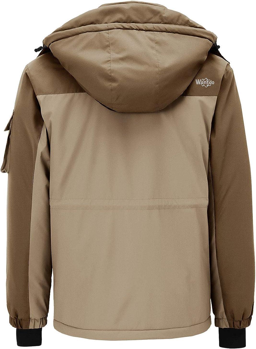 Wantdo Mens Hooded Ski Jacket Waterproof Rain Coat Windproof Winter Parka
