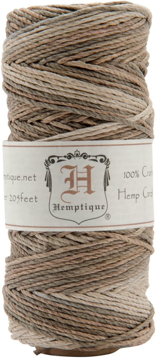 Hemptique - Bobina de Hilo de cáñamo de Fuerza Media (50 Gramos, 62,5 m, 1 mm de Grosor aproximado, 20 LB), Color marrón