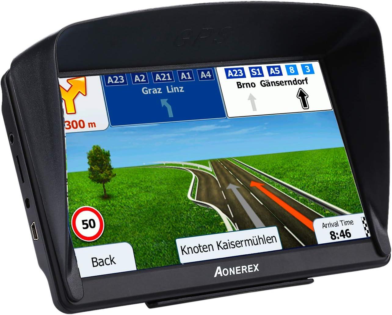 GPS Navigation 7 inch HD Universal GPS Smart Voice Reminder 8 GB ROM 256 MB Global Navigation Satellite System Lifetime Free Updates Newest Map