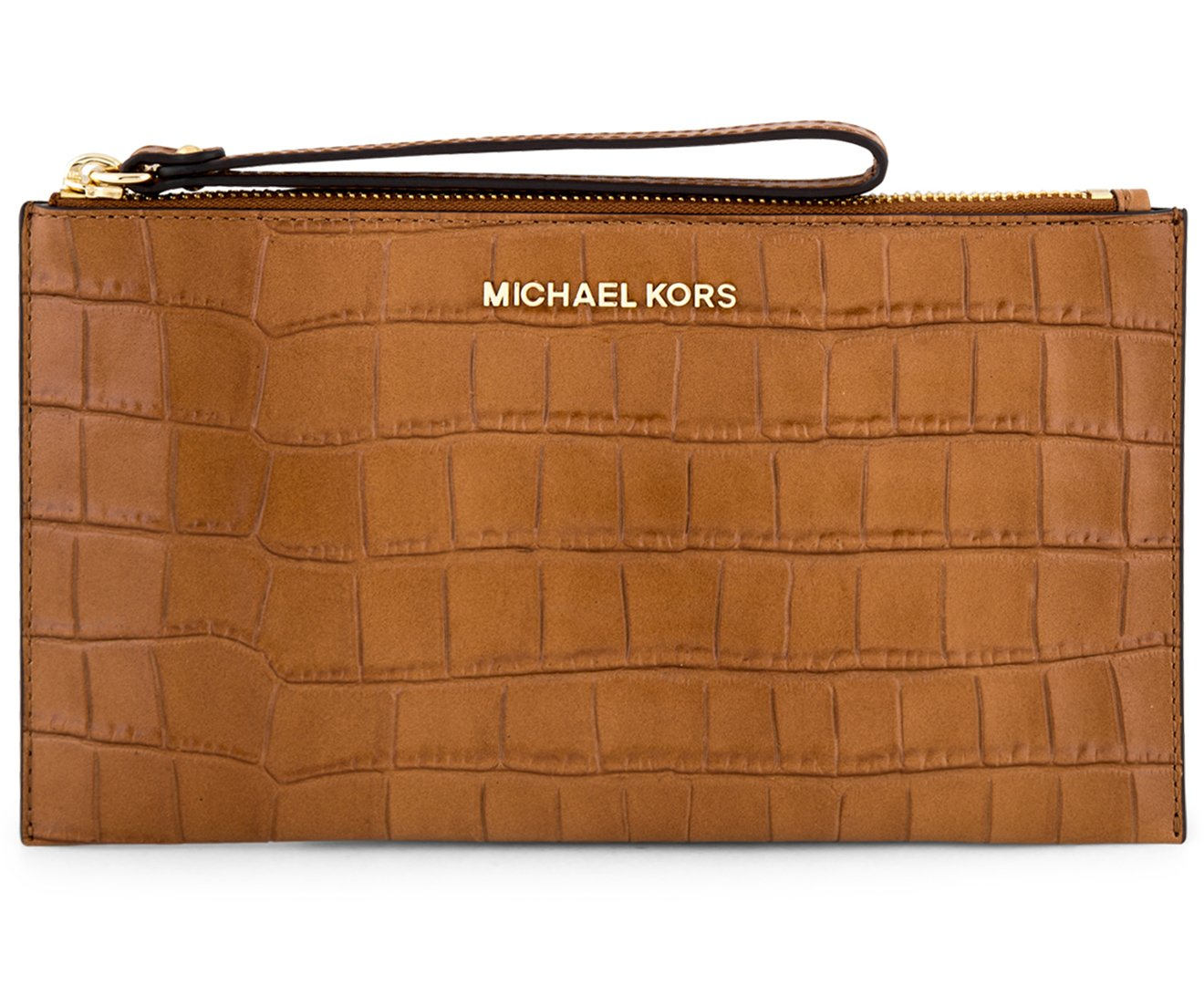 Michael Kors Bedford Embossed Leather Large Zip Clutch, Walnut
