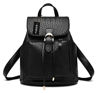 Tibes Fashion PU Leather Mini Backpack for Women/Girls Black ...